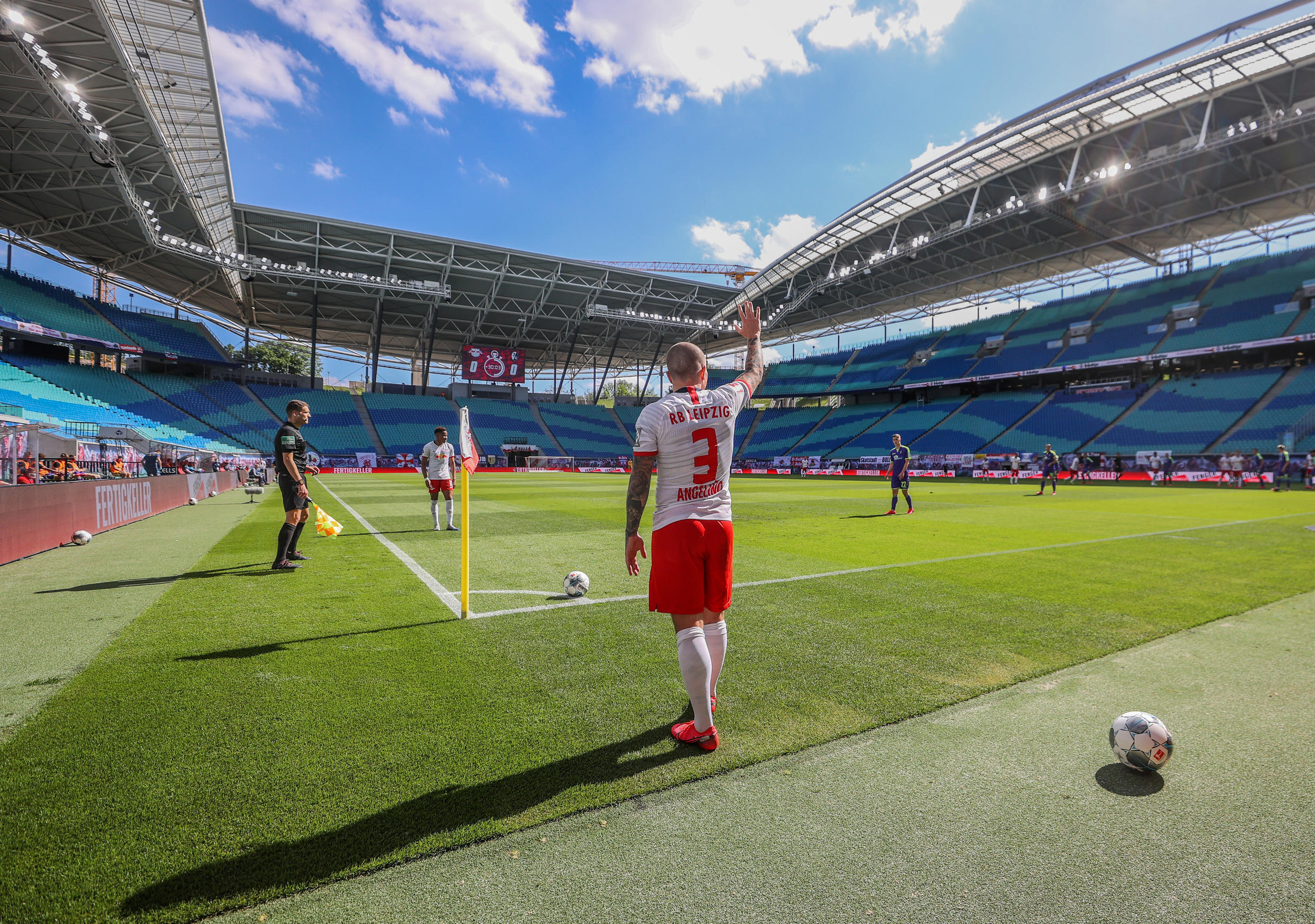 RB Leipzig's Angelino prepares to take a corner, as play resumes behind closed doors following the lifting of the Covid-19 lockdown, RB Leipzig v SC Freiburg, Leipzig, Germany, 16 May 2020.