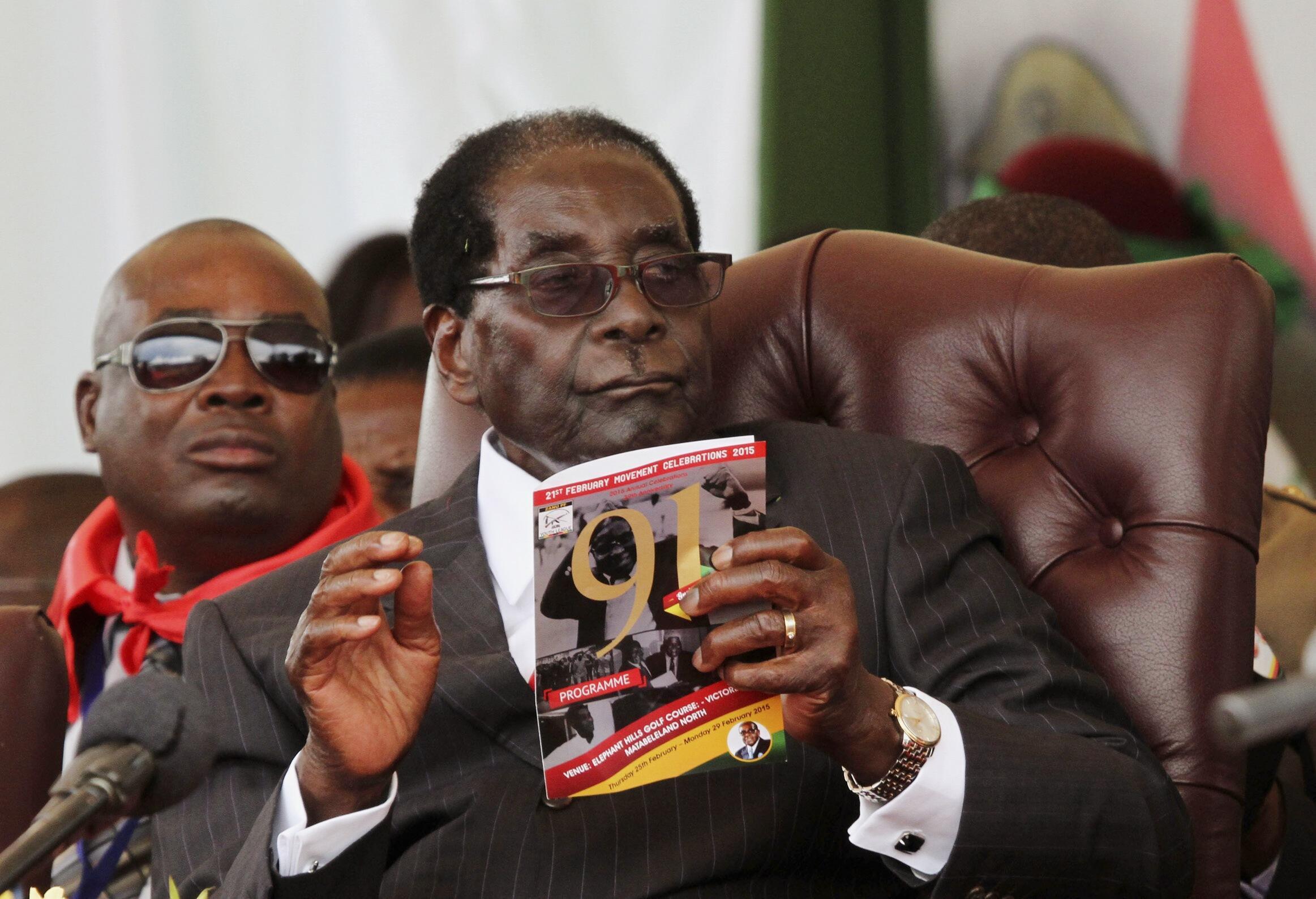 Robert Mugabe during his birthday party, February 2015