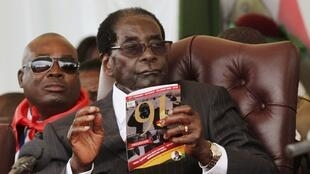 Robert Mugabe during his birthday party, February 2015