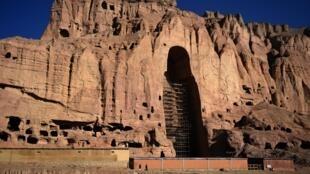 Cette photo prise en 2016, montre l'emplacement où se trouvait l'un des trois Bouddhas de Bâmiyân.