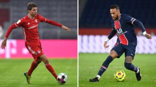Combophoto représentant les milieux védettes du Bayern Munich Thomas Müller et Neymar Jr du PSG, qui s'affrontent le 13 avril 2020 en Ligue des champions à Paris