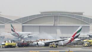 Un avión de Emirates se incendió al aterrizar el 3 de agosto de 2016.