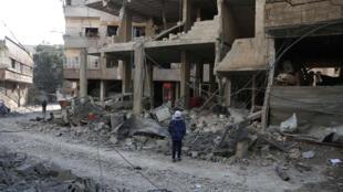 Bệnh viện Hamouria, đông Ghouta, bị tàn phá. Ảnh 21/02/2018.