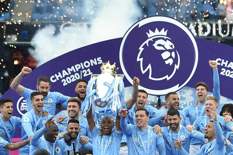 Manchester City yayin murnar lashe gasar Premier League 23 ga watan Mayun 2021.