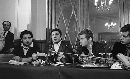 Student leaders in 68 _ Alain Geismar, Jacques Sauvageot, Daniel Cohn-Bendit