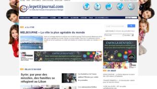 Page d'accueil du site internet.