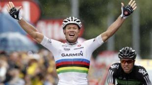 Thor Hushovd s'impose à Gap pour la deuxième fois depuis le début de ce Tour 2011, le 19 juillet 2011.