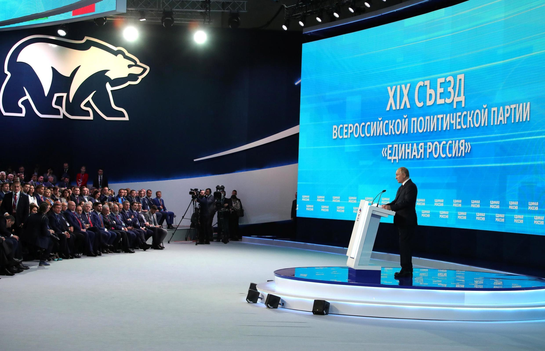Tổng thống Nga Vladimir Poutine tại Đại hội lần thứ 19 của đảng Nước Nga Thống Nhất tại Matxcơva ngày 23/11/2019.