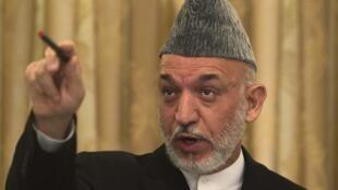 Le président afghan, Hamid Karzaï durant sa conférence de presse à Kaboul, le 29 juillet 2010.