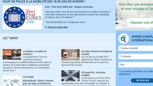 la page d'accueil du site de Pôle Emploi dédié à la mobilité internationale.
