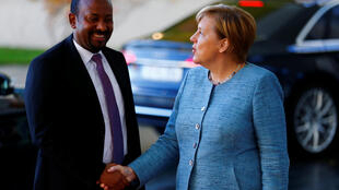 German Chancellor Angela Merkel welcomes Ethiopian Prime Minister Abiy Ahmed at the Chancellery in Berlin, Germany, October 30, 2018.