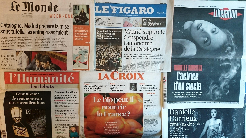 Jornais franceses desta sexta-feira 20 de Outubro de 2017.