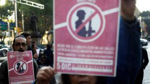 """""""¡Diputados, senadores, del pueblo son traidores!"""", acusaron decenas de manifestantes frente al Senado, en el turístico Paseo de la Reforma de la capital mexicana, el 5 de diembre de 2017."""