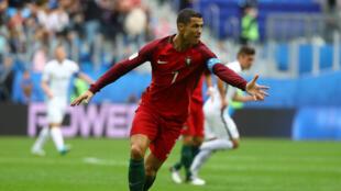 Cristiano Ronaldo sous le maillot du Portugal lors de la Coupe des Confédérations en Russie en 2017.