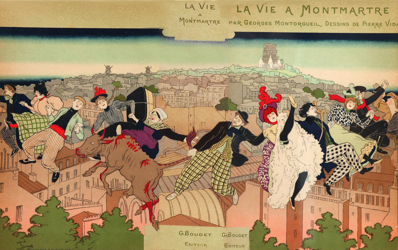 """Pierre Vidal, portada de """"Pour la vie à Montmartre"""", 1897."""