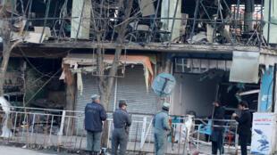 Afghanistan: Cảnh sát tại nơi xẩy ra khủng bố ở thủ đô Kaboul, ngày 28/01/2018.