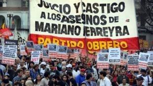 Manifestación en Buenos Aires tras el asesinato de Mariano Ferreyra, octubre de 2010.