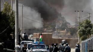 Attaque à Kaboul, revendiquée par le groupe jihadiste Etat islamique, le 21 août 2018. Plusieurs roquettes ont été tirées.