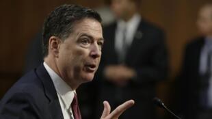 L'ex-chef du FBI James Comey lors de sa déposition devant la commission du Renseignement du Sénat , le 8 juin 2017.