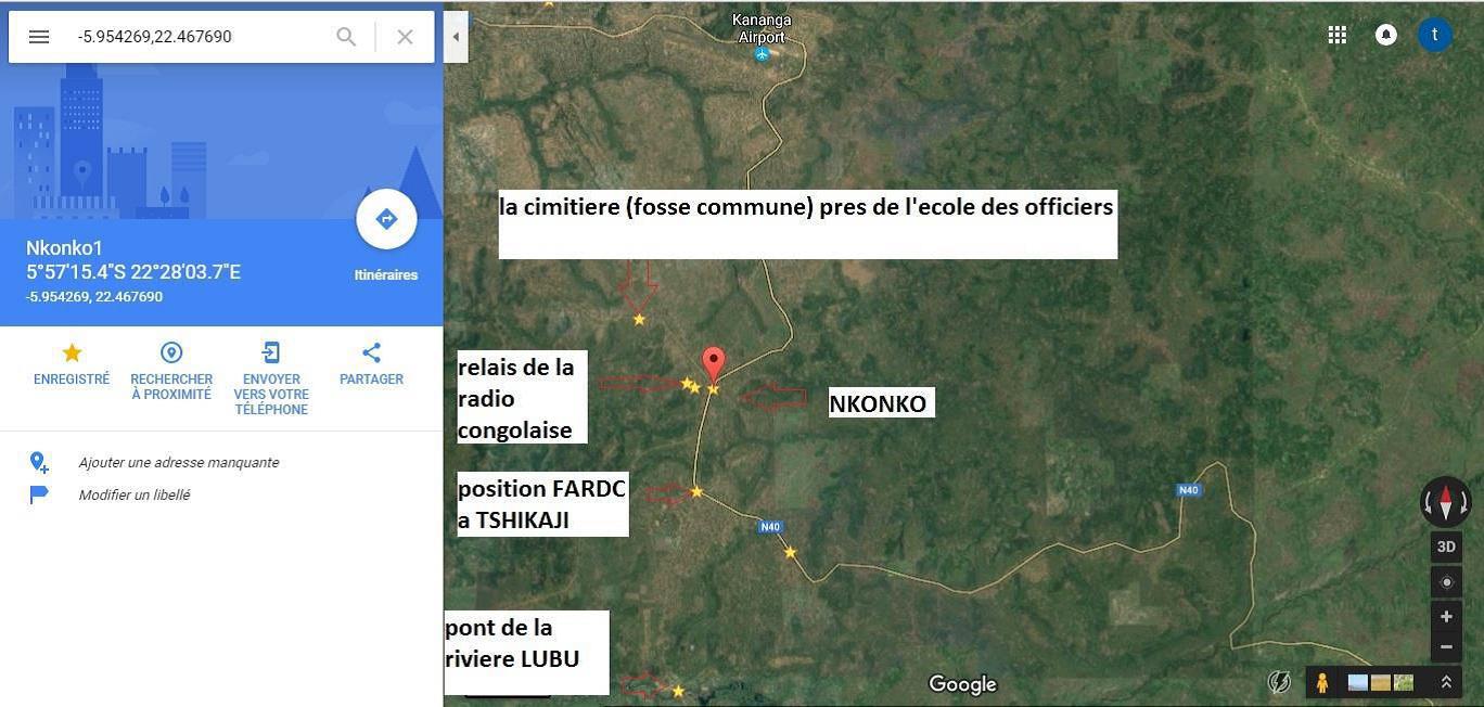 Les enquêteurs des Nations unies identifient les positions FARDC et les lieux des fosses communes sur la route empruntée par les experts.