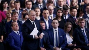 Le président russe Vladimir Poutine à Moscou, le 8 décembre dernier, lors d'un meeting de son parti Russie unie.