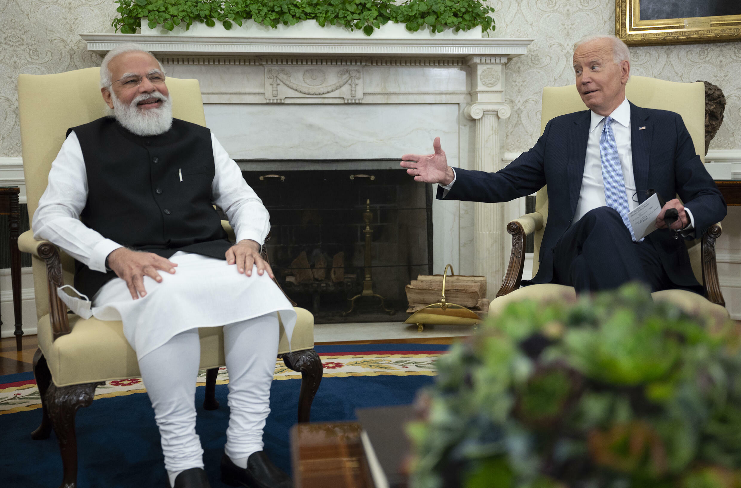 US President Joe Biden meets with Indian Prime Minister Narendra Modi in the Oval Office of the White House