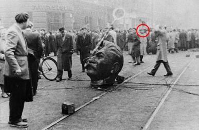 Cách mạng Hungary 1956. Trong ảnh, tượng Staline bị hạ bệ trên đường phố Budapest.