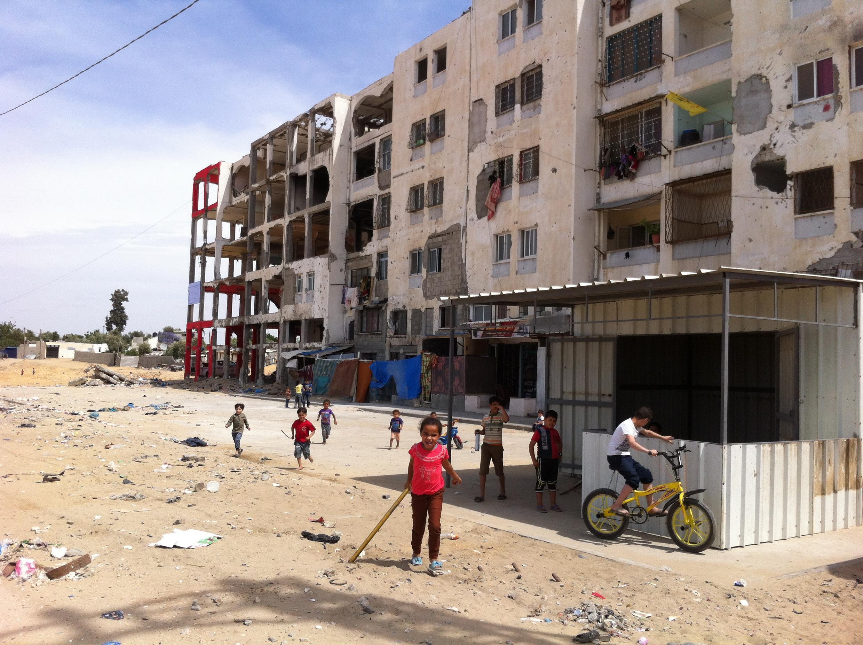Cidade de Beit Hanoun, em Gaza na fronteira com Israel e as sequelas da guerra de 2014