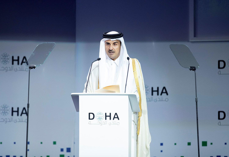 ព្រះចៅ Sheikh Tamim bin Hamad bin Khalifa Al-Thani ក្នុងវេទិកាដូហា ថ្ងៃទី ១៥ ធ្នូ ២០១៨