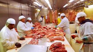 Tại một nhà máy chế biến thịt heo tại Chicago, Illinois. Ảnh chụp ngày 18/07/2015.