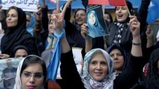 Mujeres en un acto de campaña de los reformistas en Teherán, 20 de febrero de 2016.