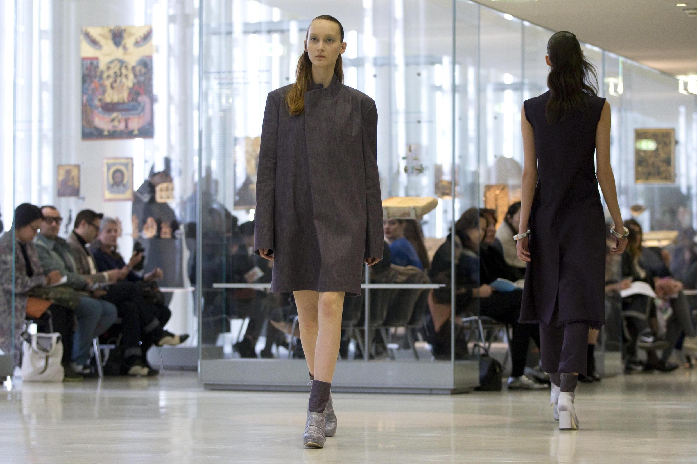 Models on the catwalk during Paris Fashion Week