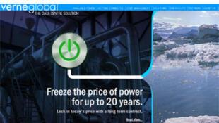 Capture d'écran du site internet de Verne Global.
