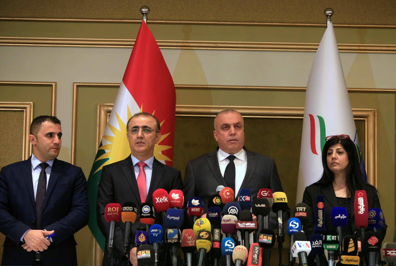Comissão eleitoral anuncia em Erbil os resultados do referendo de independência do Curdistão Iraquiano.