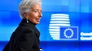 Christine Lagarde, presidenta del BCE, en Bruselas el 17 de febrero de 2020