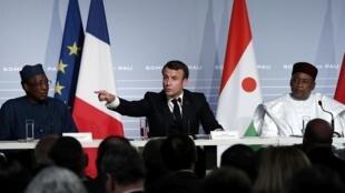 O presidente francês, Emmanuel Macron, em Pau, em uma coletiva após a cúpula com os países africanos do Sahel