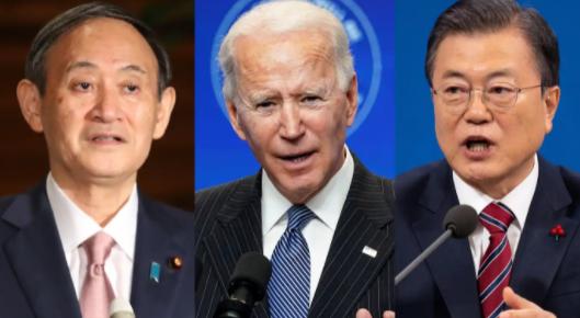 日美韓三國領導人資料圖片