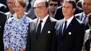 法国环保部长罗亚尔、法国总统奥朗德(中)、法国总理瓦尔斯下定决心要开好年底的气候峰会(2015年9月10日)