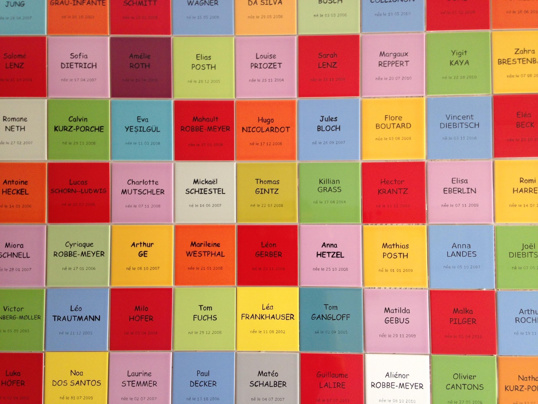 Tableau des noms dans une école alsacienne.