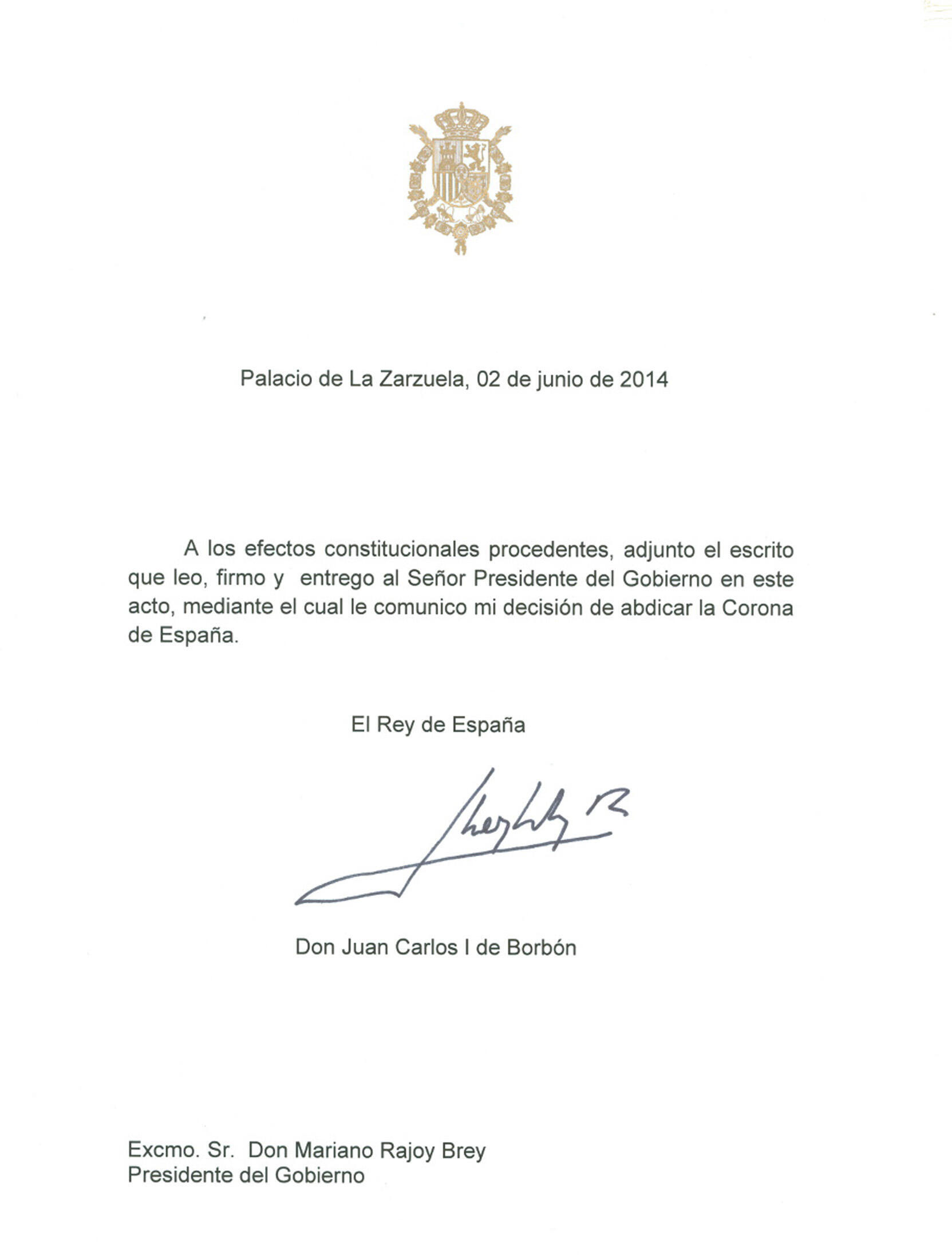 Carta en la que Juan Carlos I anuncia su decisión de abdicar.
