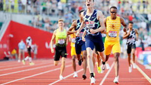 Clayton Murphy celebrates after winning the 800m at the US Olympic trials on Monday as world champion Donavan Brazier failed to qualify for the Tokyo Games