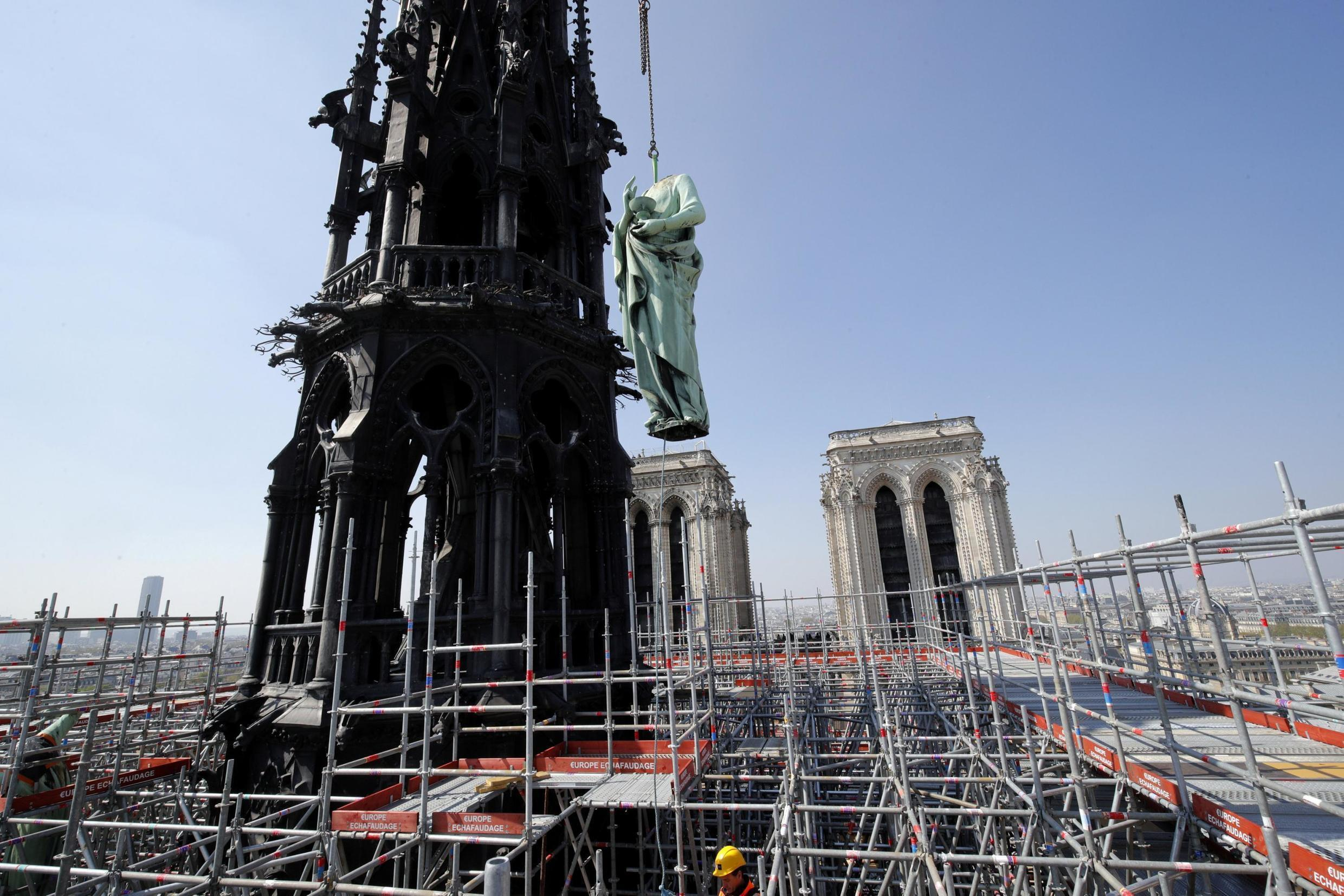 A view of Notre-Dame after the fire on April 15, 2019.