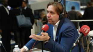 Le cofondateur de Qwant Éric Léandri, jeudi 16 mai 2019, sur le plateau de RFI au salon VivaTech à Paris.