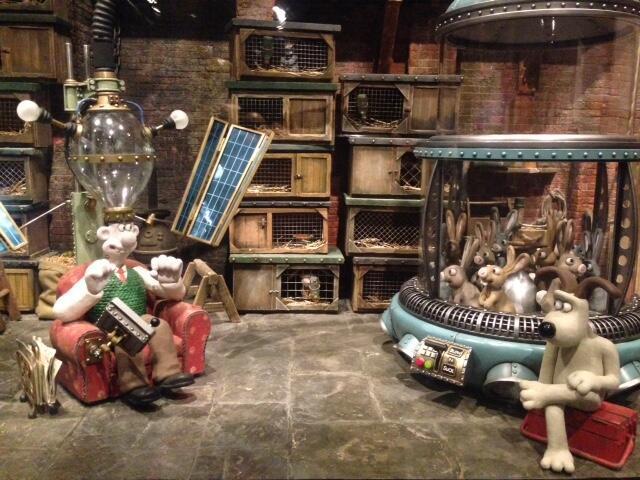 Maquete de Wallace e Gromit em exposição parisiense