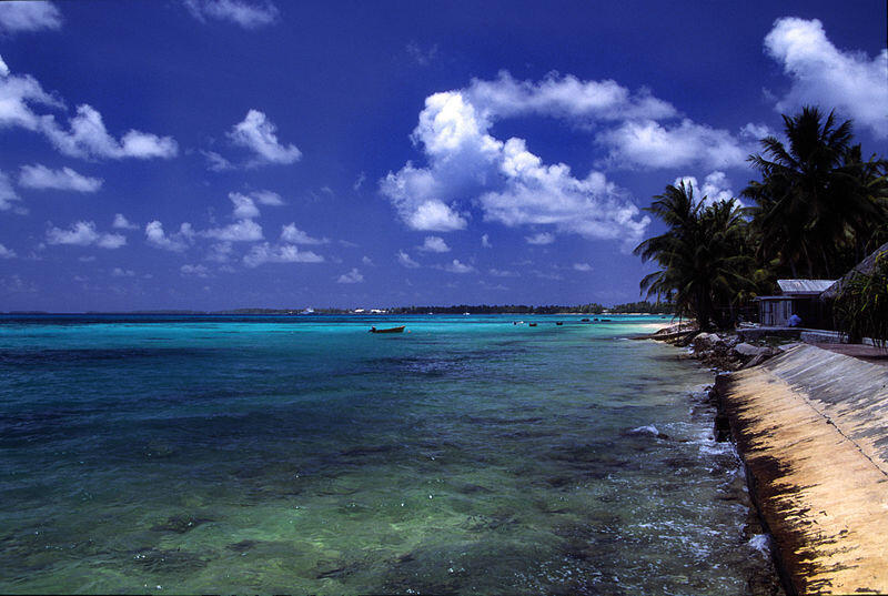 A beach at Funafuti atoll, Tuvalu, which is on the frontlines of climate change.