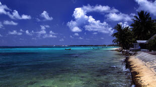 A beach at Funafuti atoll, Tuvalu