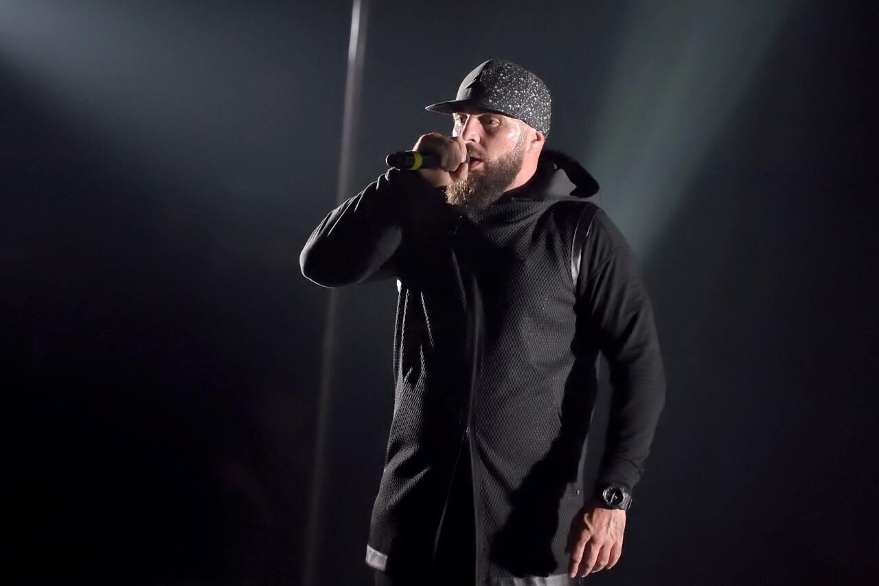 French rapper Medine in concert at the Cigale in Paris, Mai 2017.