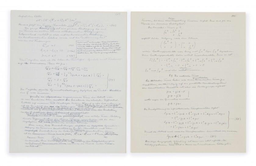 """Borrador de Albert Einstein sobre su """"teoría del todo""""."""