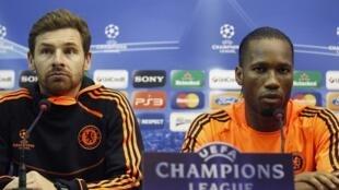 Andre Villas-Boas et Didier Drogba en conférence de presse.