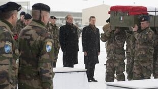 Former French defence minister Gérard Longuet at a ceremony to honour French soldiers killed in Kapisa last February